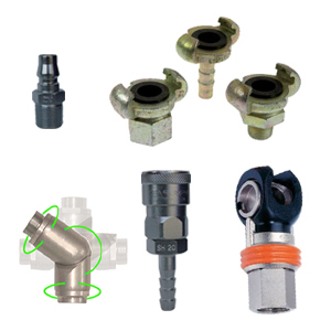 Multi-Directional Swivel Fittings, Quick Release & Standard Couplers